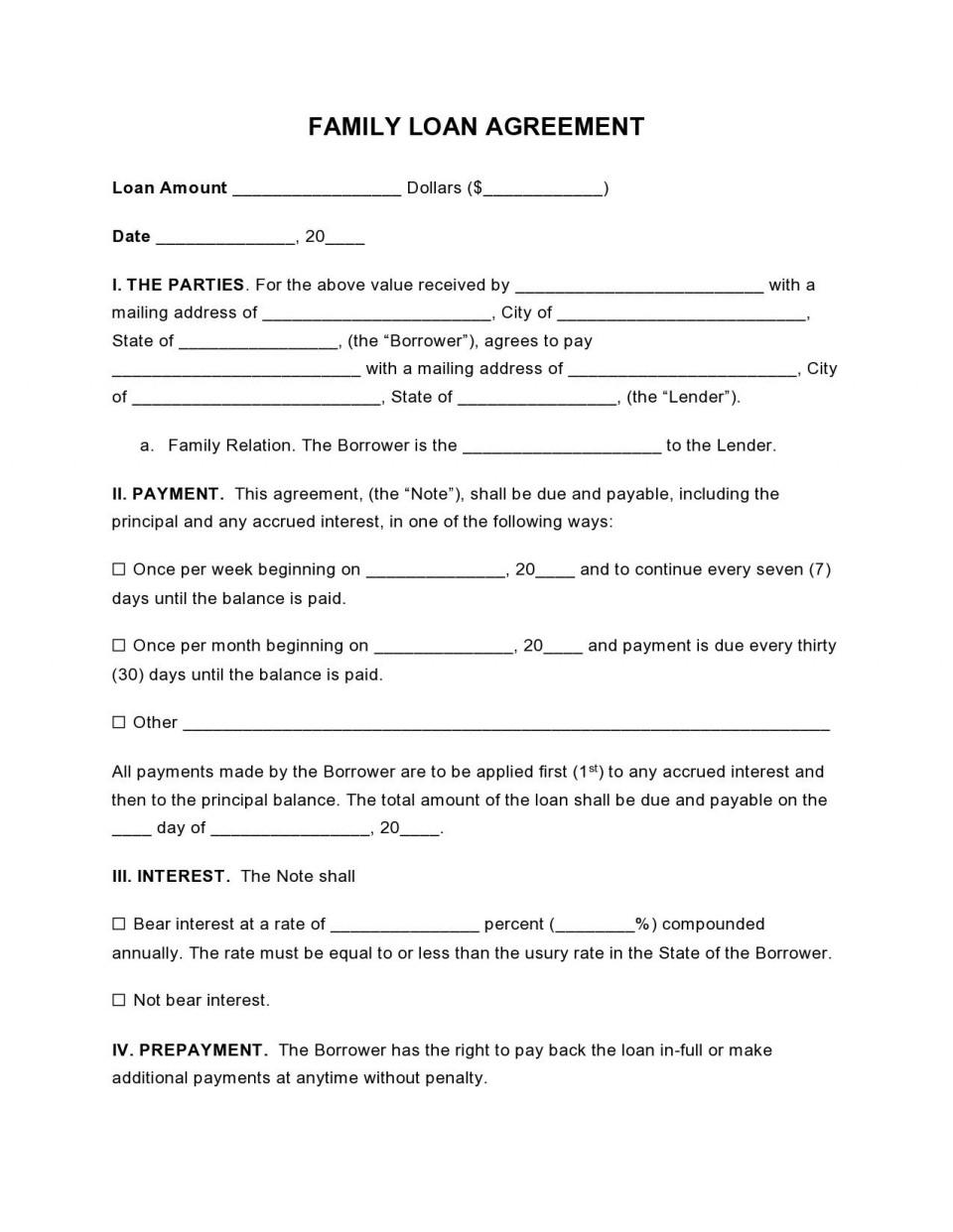 000 Wondrou Free Family Loan Agreement Template Nz High Definition 960