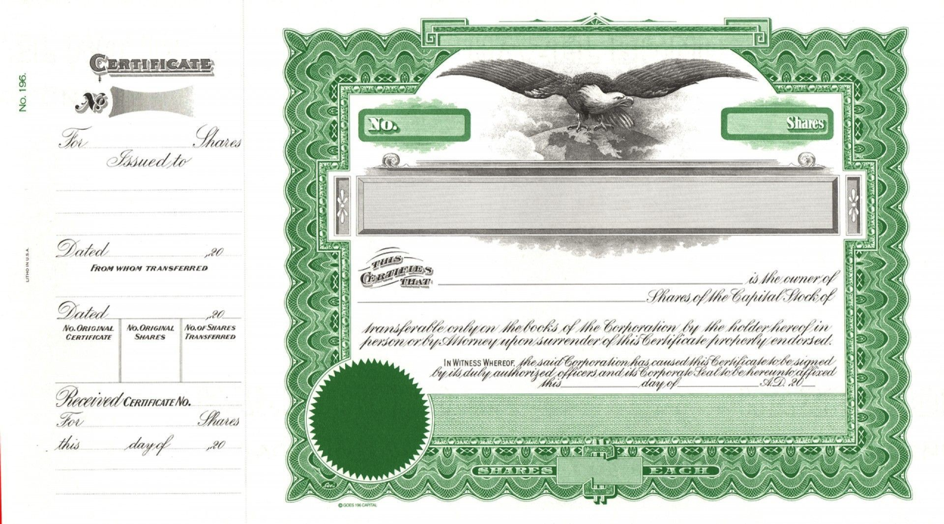 000 Wondrou Free Stock Certificate Template Highest Clarity  Word Form Downloadable1920