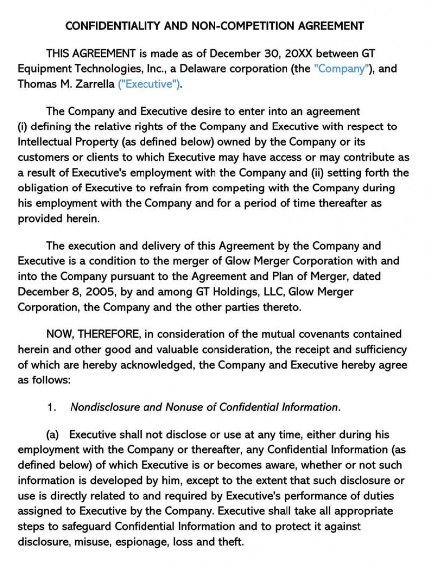 000 Wondrou Non Compete Agreement Template Image  Between Companie Australia Uk Free