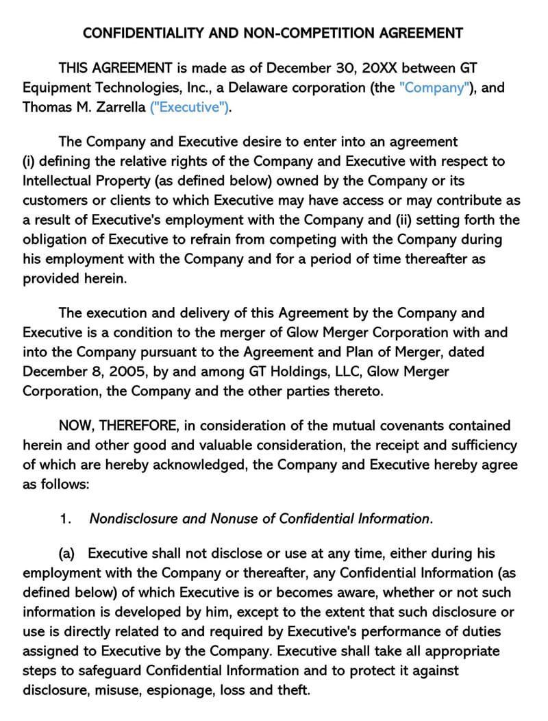 000 Wondrou Non Compete Agreement Template Image  Sample India Free FloridaFull
