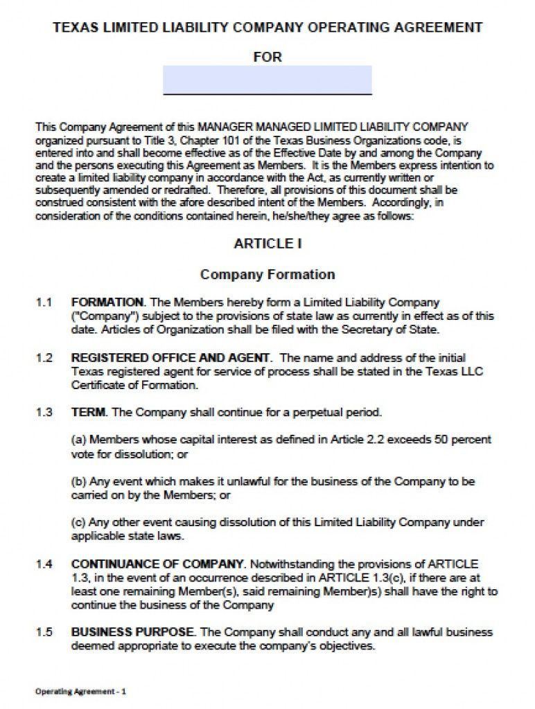 000 Wondrou Operating Agreement Template For Llc Inspiration  Form Florida TexaFull