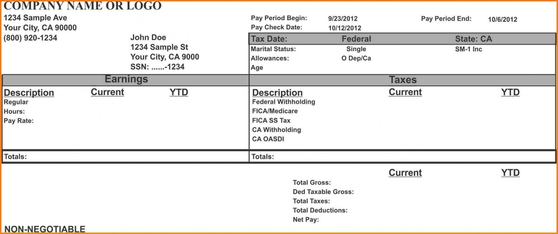 000 Wondrou Pay Stub Template Word Idea  Document Check Microsoft FreeFull
