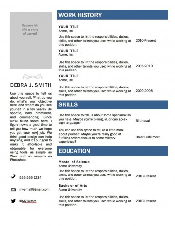 000 Wondrou Resume Microsoft Word Template Photo  Cv/resume Design Tutorial With Federal Download360