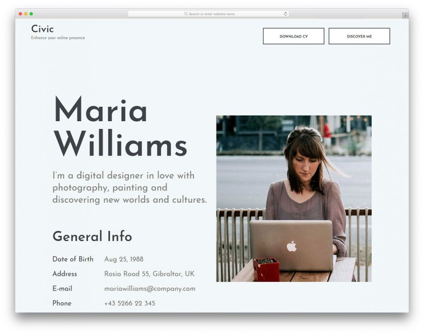 000 Wondrou Resume Website Template Free Photo  Personal Download Html Simple