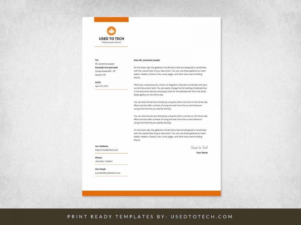 000 Wondrou Sample Letterhead Template Free Download  Professional Design In Word Format960