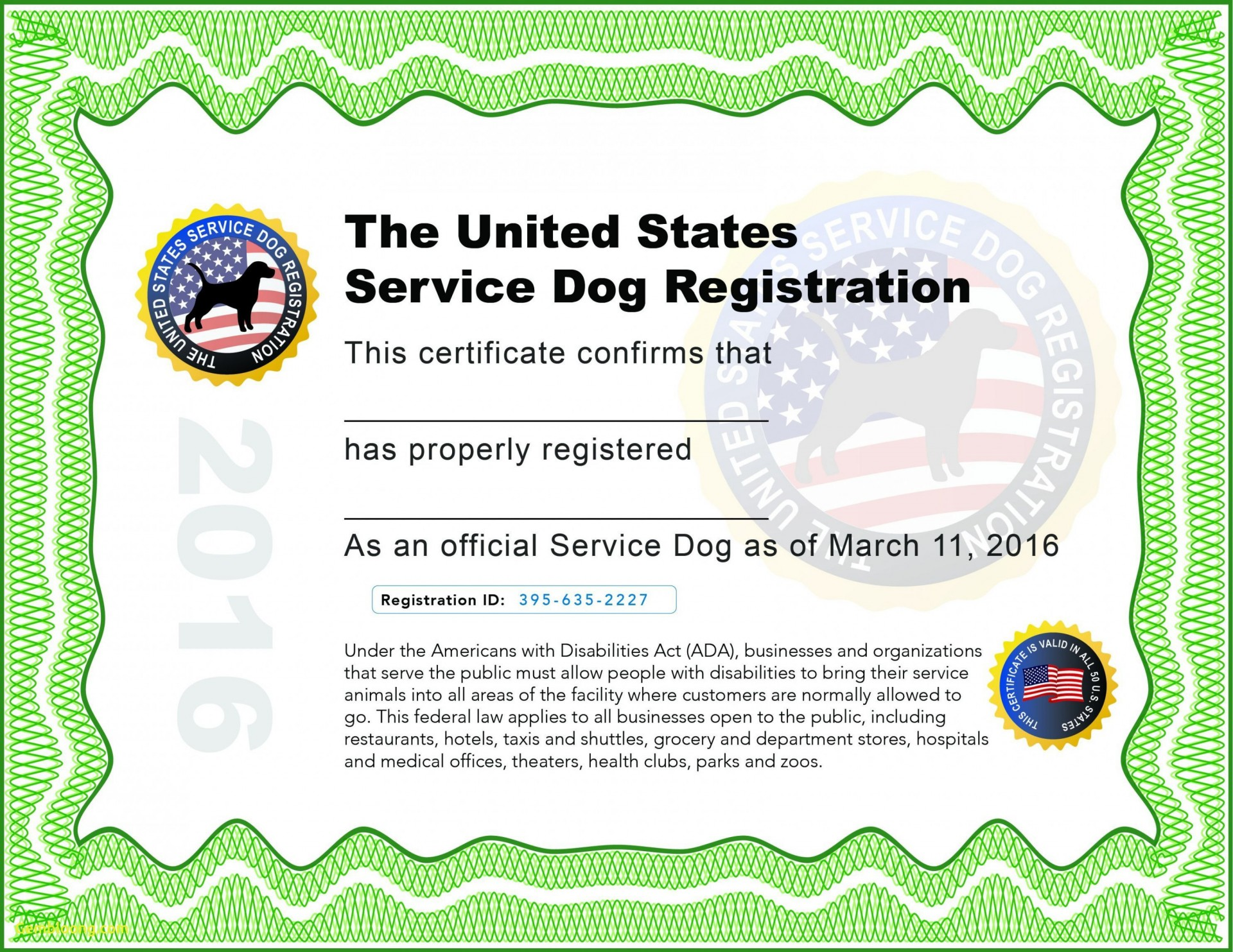 000 Wondrou Service Dog Certificate Template Image  Printable Id Free1920