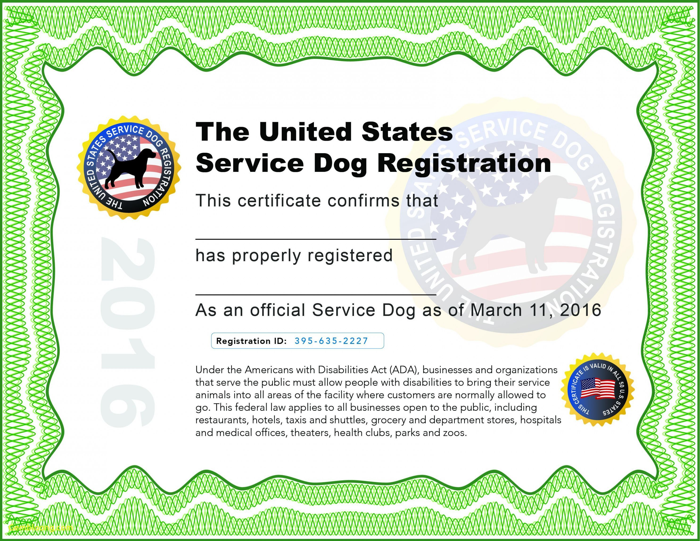 000 Wondrou Service Dog Certificate Template Image  Printable Id FreeFull