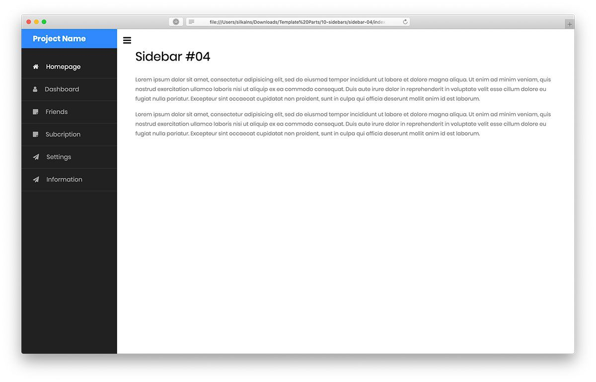 000 Wondrou Side Menu Bar Template Free Download Concept Full