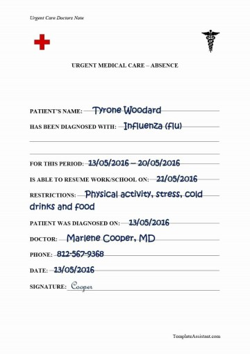 000 Wondrou Urgent Care Doctor Note Template Idea  Sample Fake Doctor' Printable360