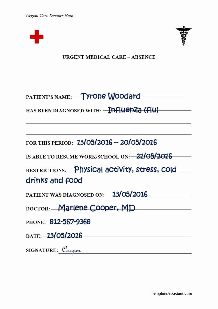000 Wondrou Urgent Care Doctor Note Template Idea  Sample Fake Doctor' PrintableFull