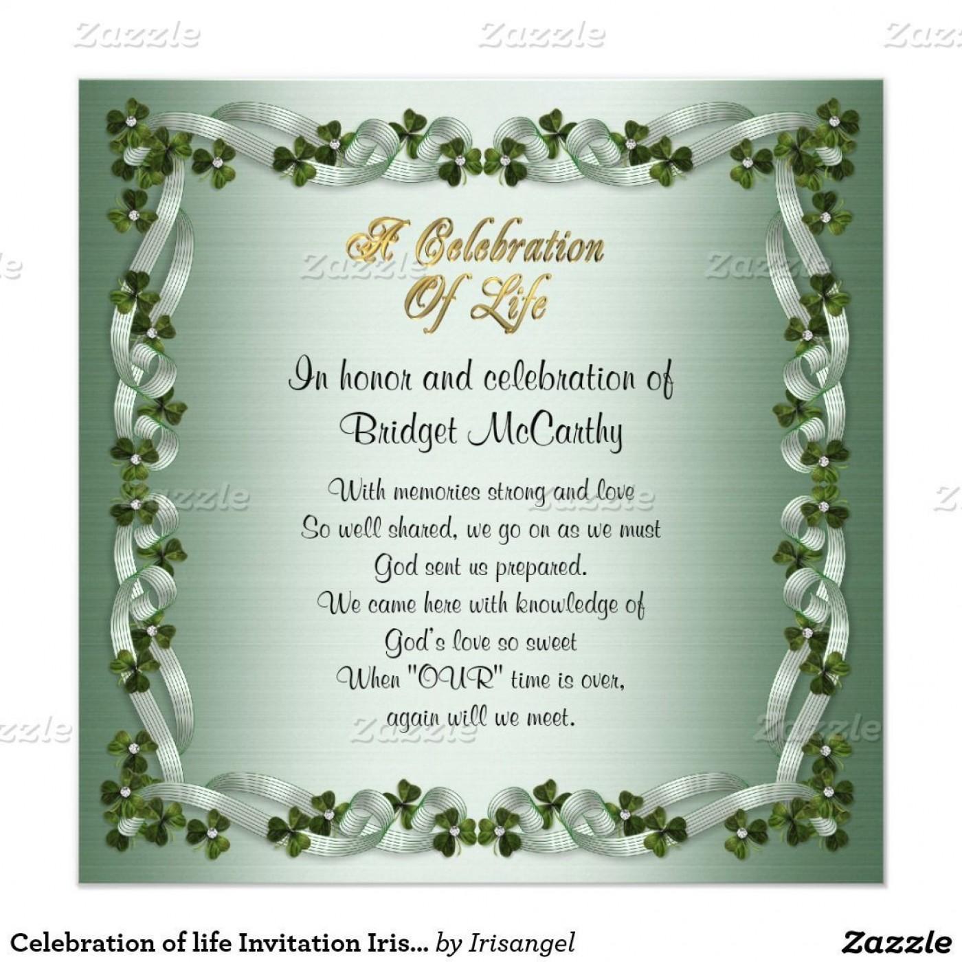 001 Amazing Celebration Of Life Invitation Template Free Highest Quality 1400
