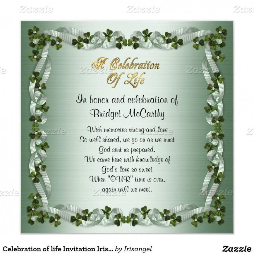 001 Amazing Celebration Of Life Invitation Template Free Highest Quality 868