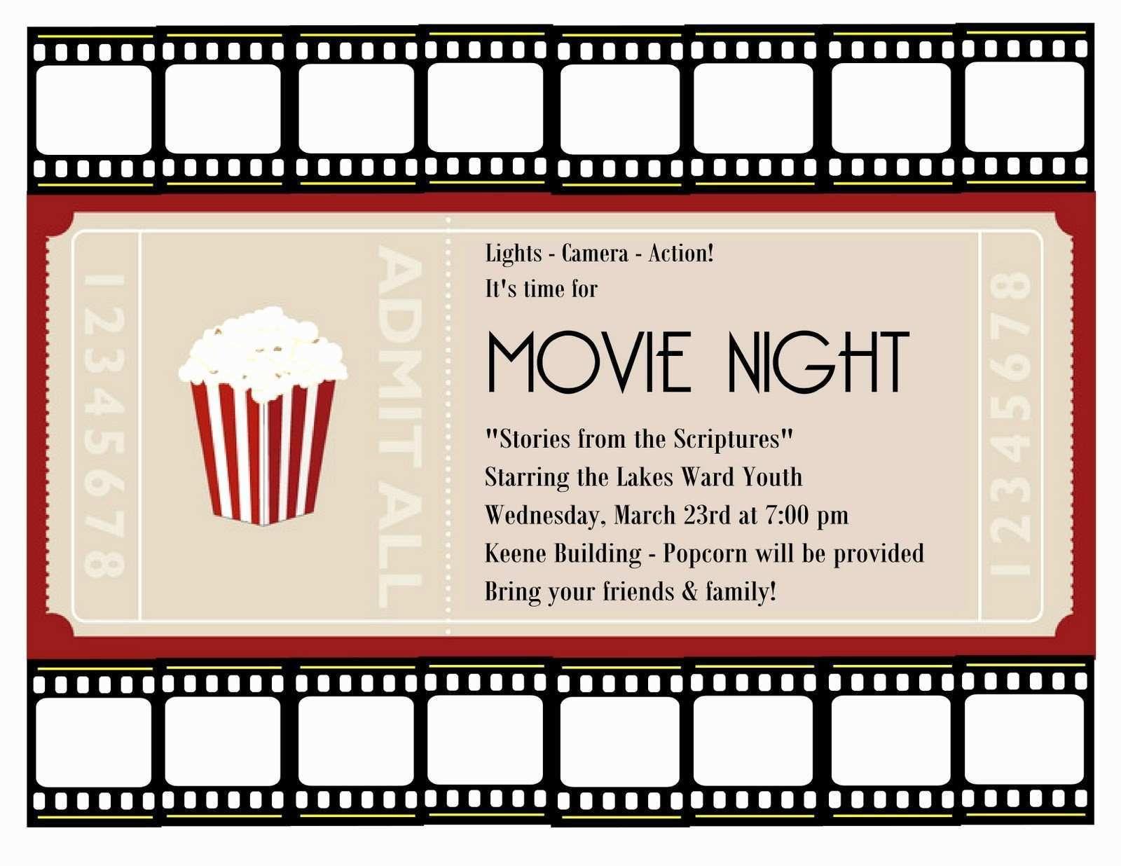 001 Amazing Movie Ticket Invitation Template Highest Quality  Blank Free Download Editable PrintableFull