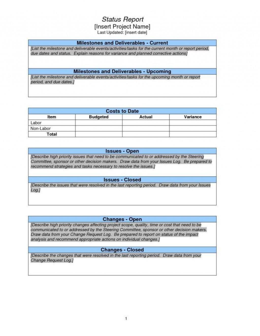 001 Amazing Project Management Report Template Excel Inspiration  Weekly Statu ProgresLarge