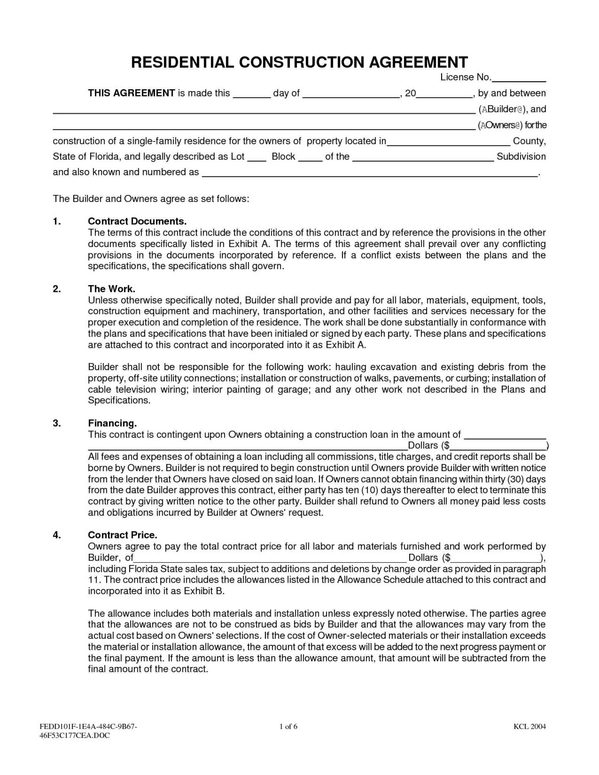 001 Amazing Residential Construction Contract Template Picture  House Agreement Pdf1920
