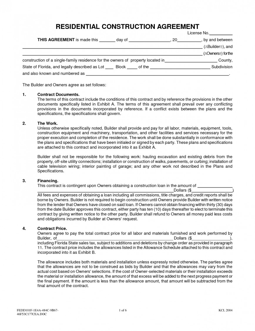 001 Amazing Residential Construction Contract Template Picture  House Agreement In Tamil