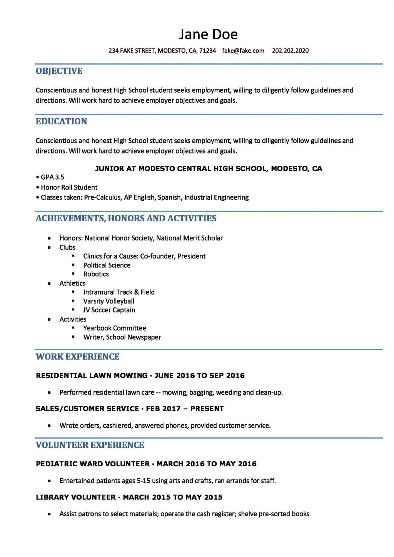 resume template high school student