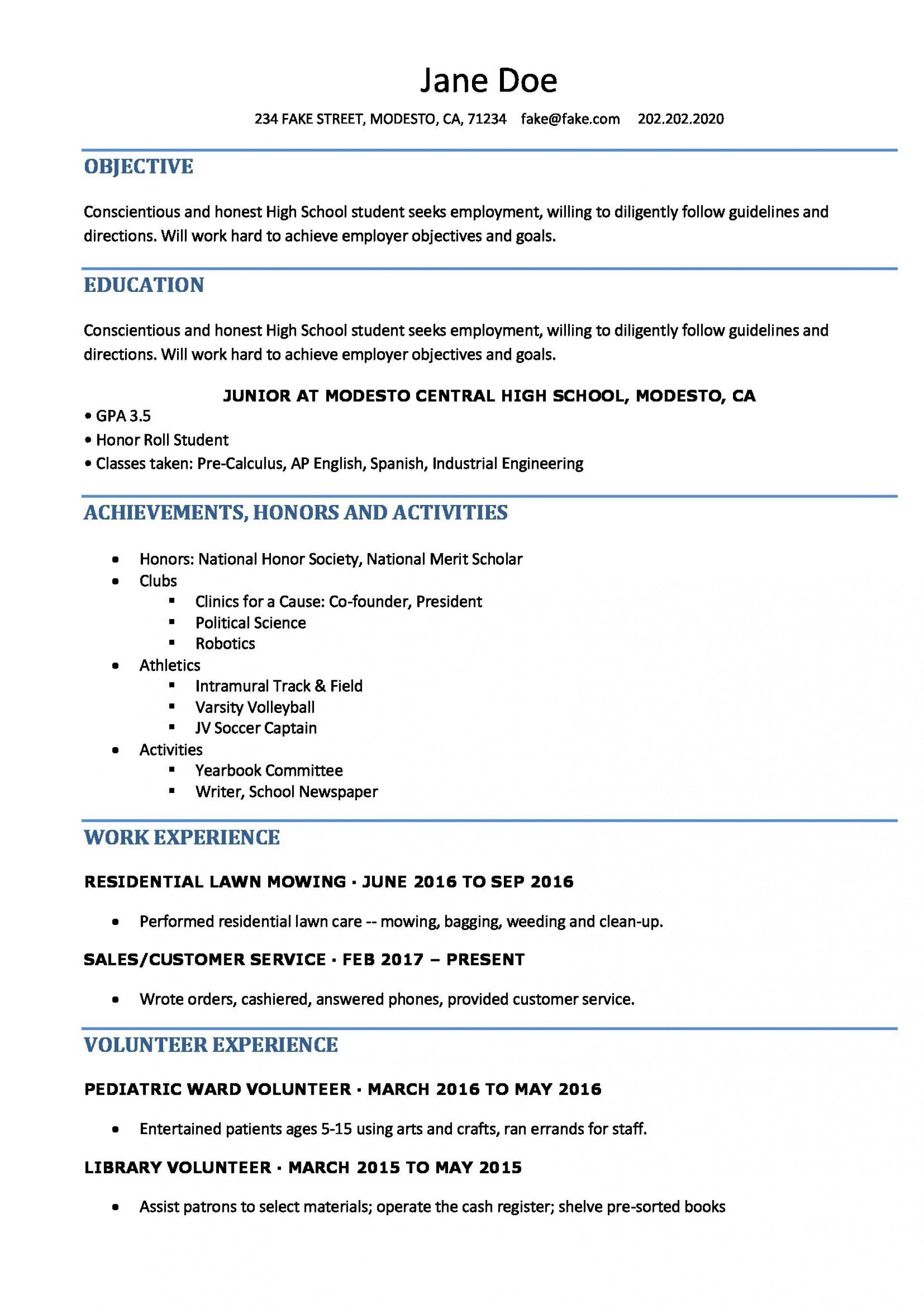Curriculum Vitae Format For High School Students لم يسبق له مثيل