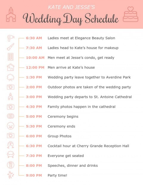 001 Amazing Wedding Day Itinerary Template Highest Clarity  Sample Excel Word480