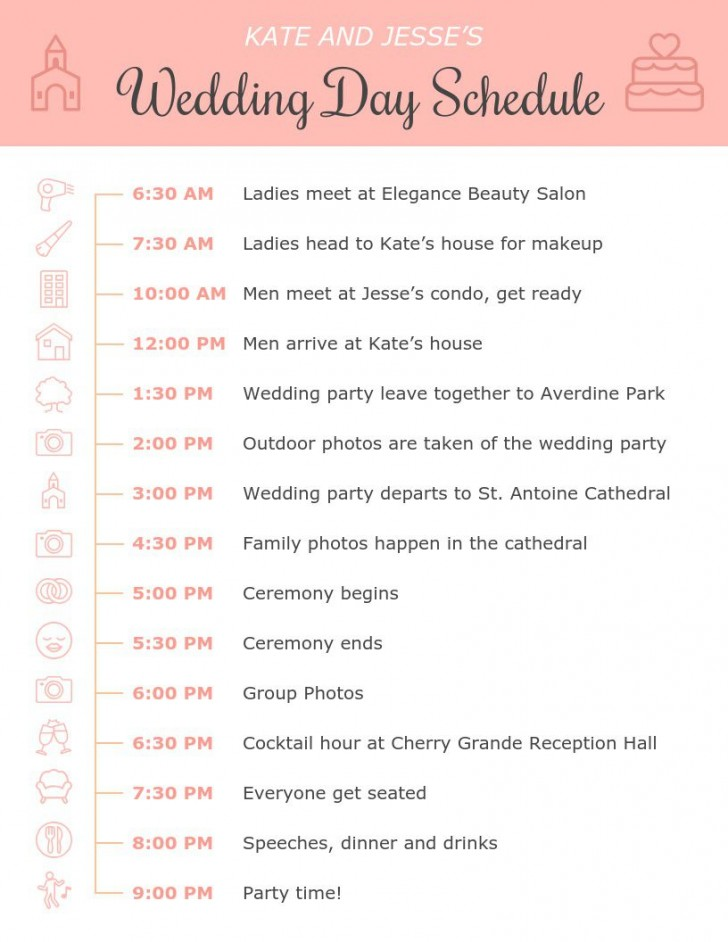 001 Amazing Wedding Day Itinerary Template Highest Clarity  Sample Excel Word728