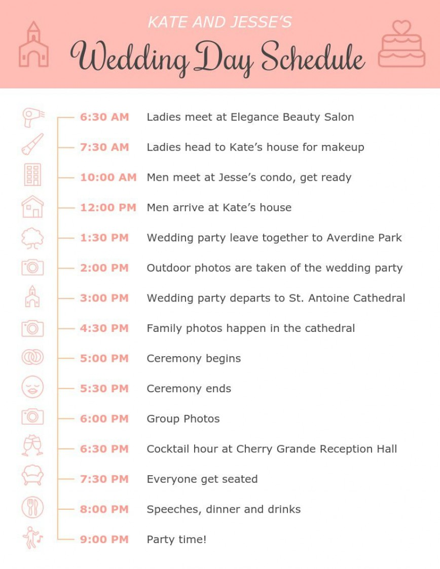 001 Amazing Wedding Day Itinerary Template Highest Clarity  Sample Excel Word868