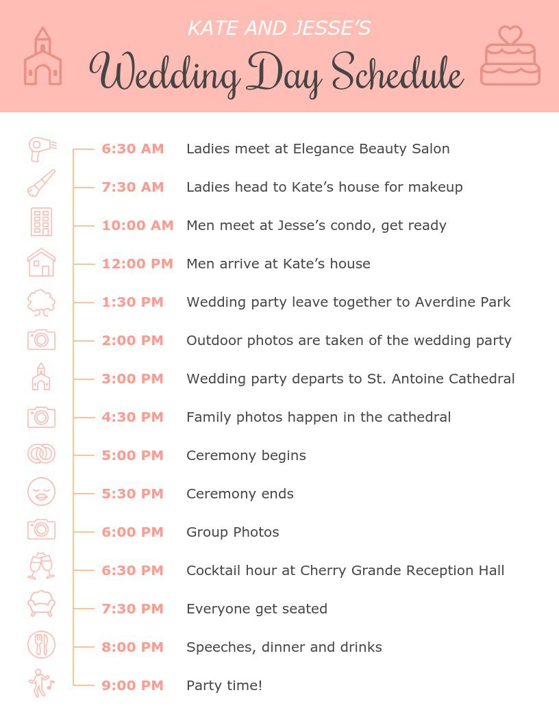 001 Amazing Wedding Day Itinerary Template Highest Clarity  Sample Excel WordFull