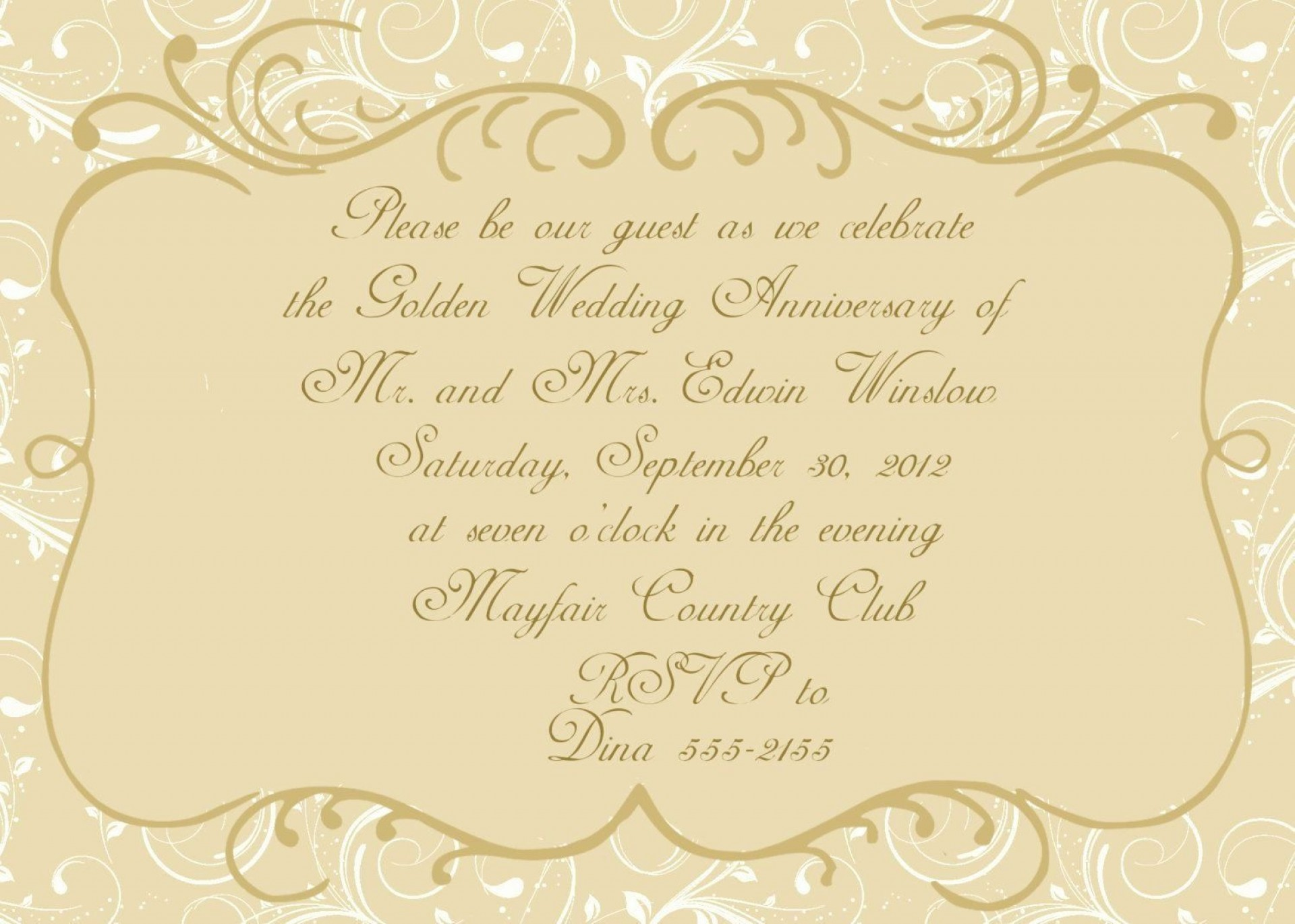 001 Archaicawful 50th Wedding Anniversary Invitation Template Design  Templates Golden Uk Free Download1920