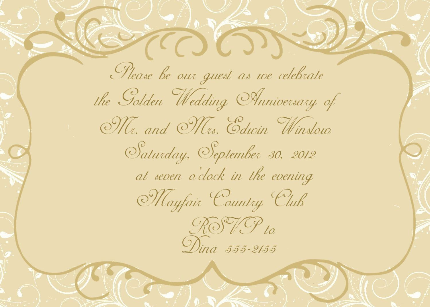 001 Archaicawful 50th Wedding Anniversary Invitation Template Design  Templates Golden Uk Free DownloadFull