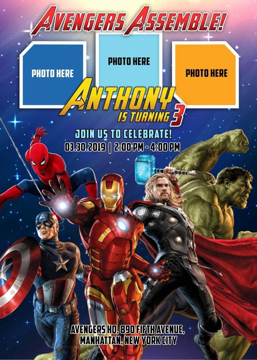 001 Archaicawful Avenger Birthday Party Invitation Template Free Example  InviteFull