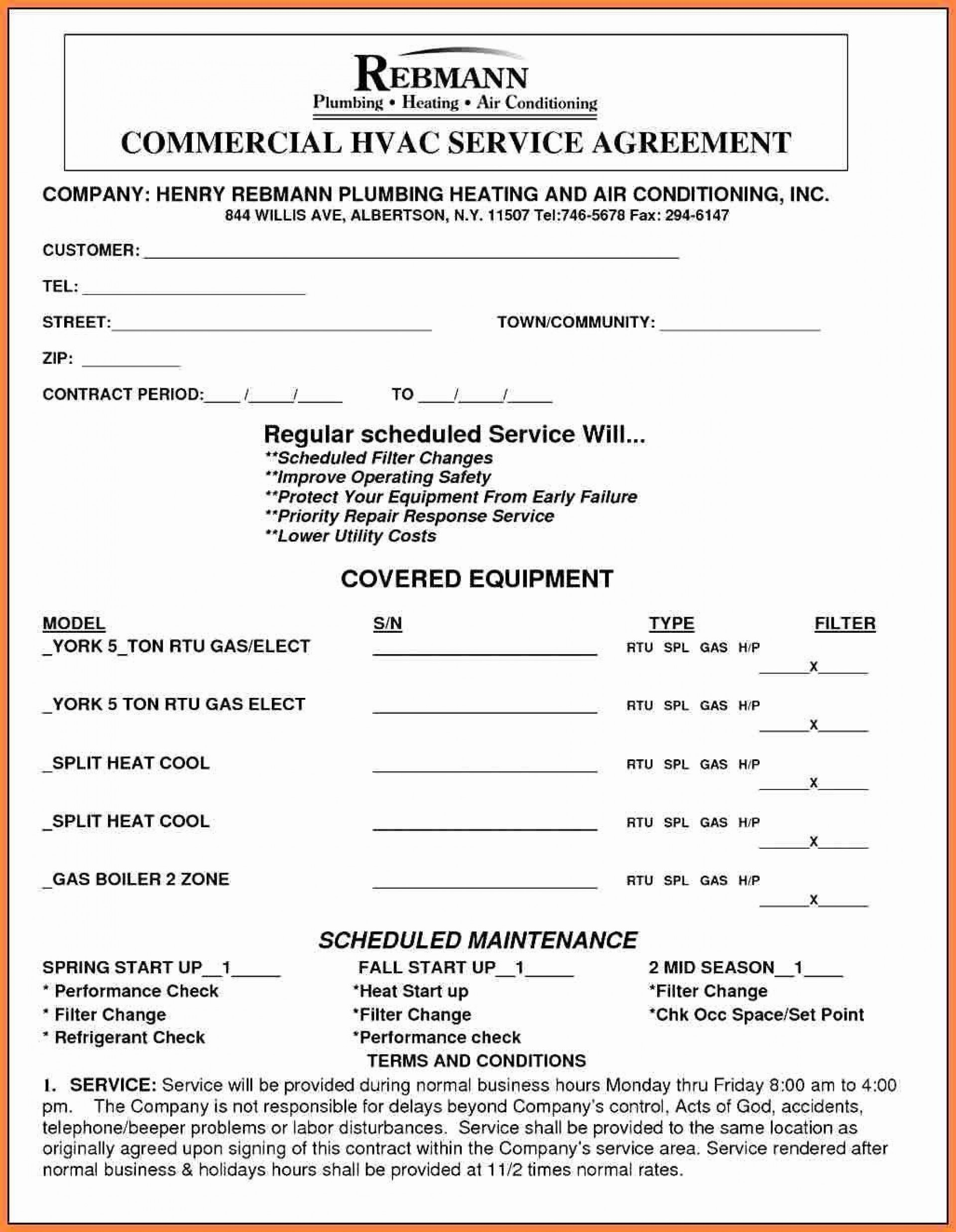 001 Archaicawful Commercial Hvac Service Agreement Template Highest Quality  Maintenance Contract1920