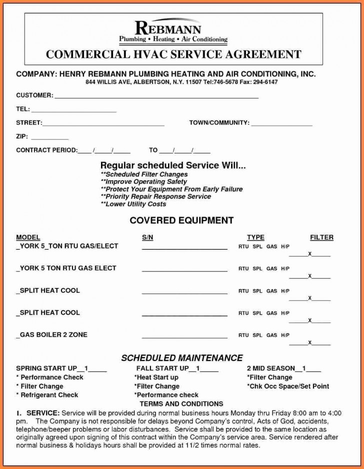 001 Archaicawful Commercial Hvac Service Agreement Template Highest Quality  Maintenance Contract728