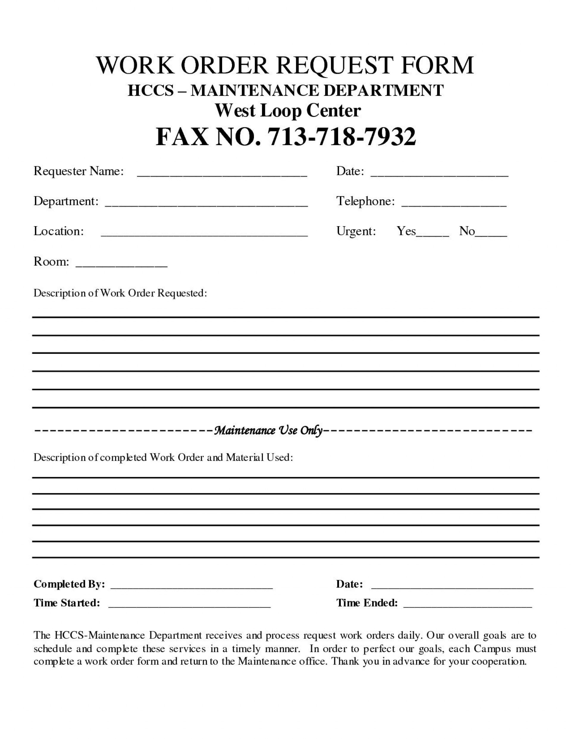 001 Archaicawful Construction Work Order Template Sample  Word Additional Form Free1920
