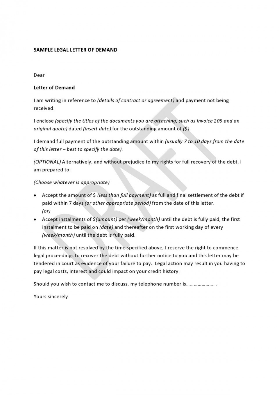 001 Archaicawful Final Payment Demand Letter Template High Def  For Uk960
