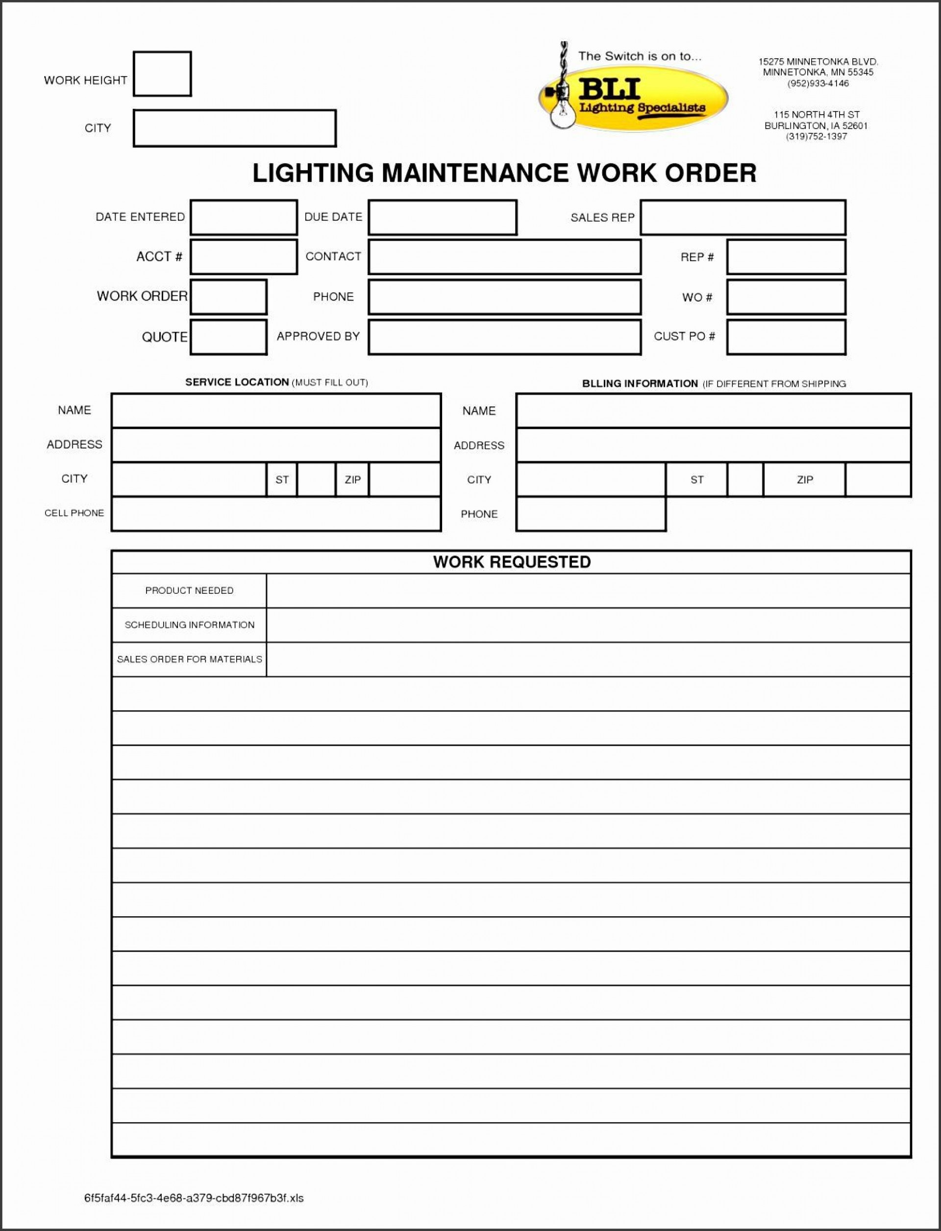 001 Archaicawful Maintenance Work Order Template Concept  Form Free Sample1920
