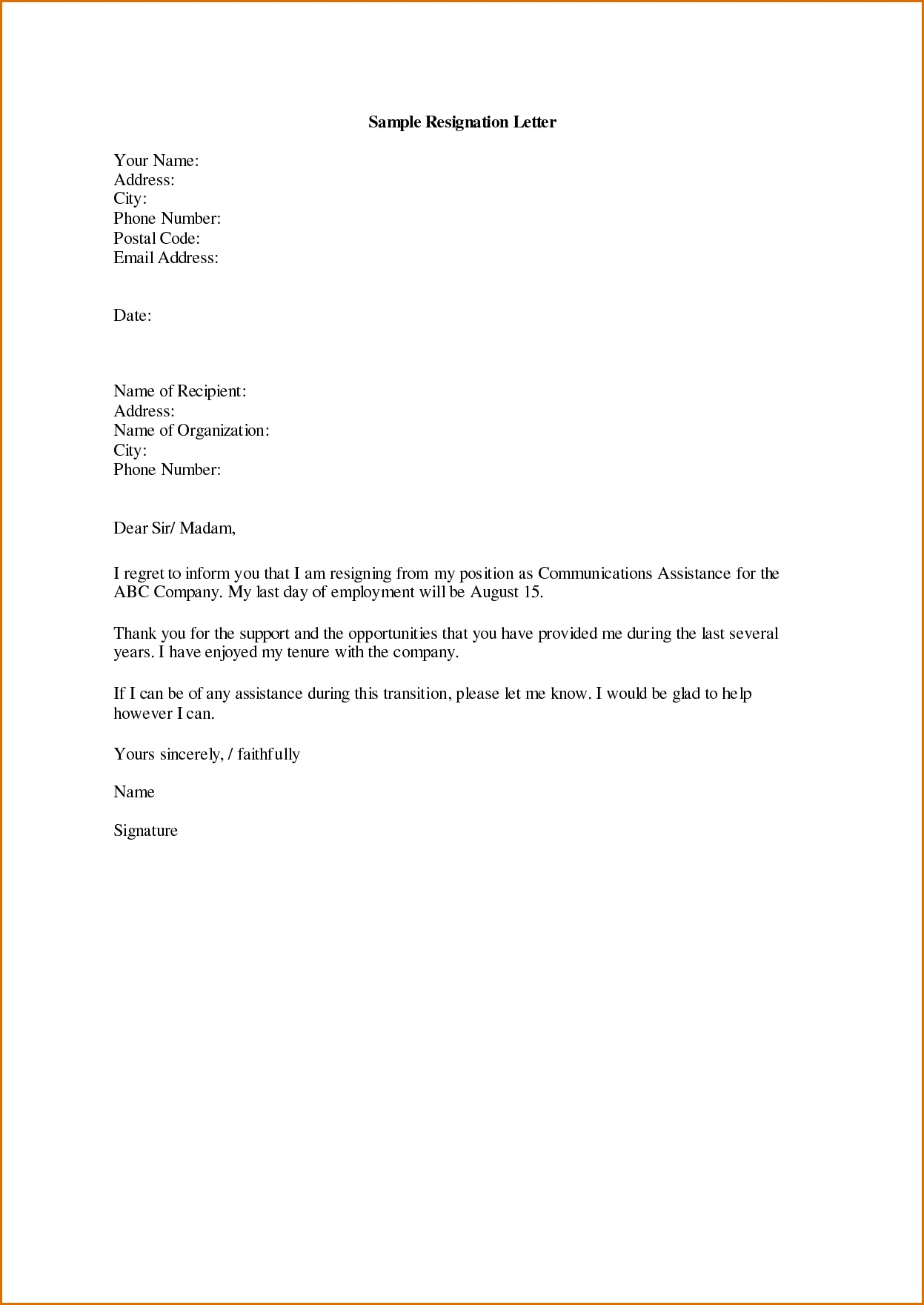 001 Archaicawful Professional Resignation Letter Template Picture  Best Format Pdf How To Write AFull