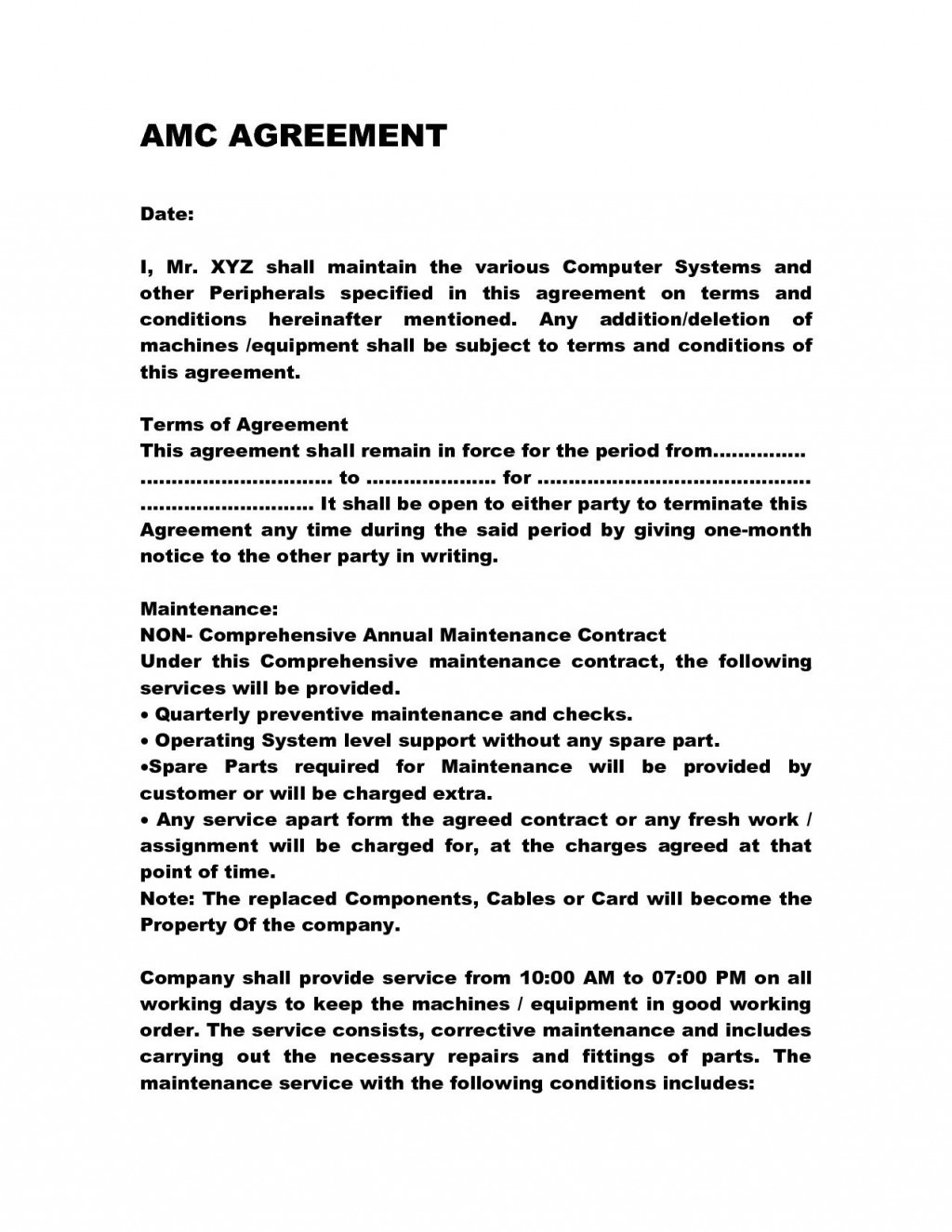 001 Archaicawful Service Contract Template Doc Idea  Docx Simple Level AgreementLarge
