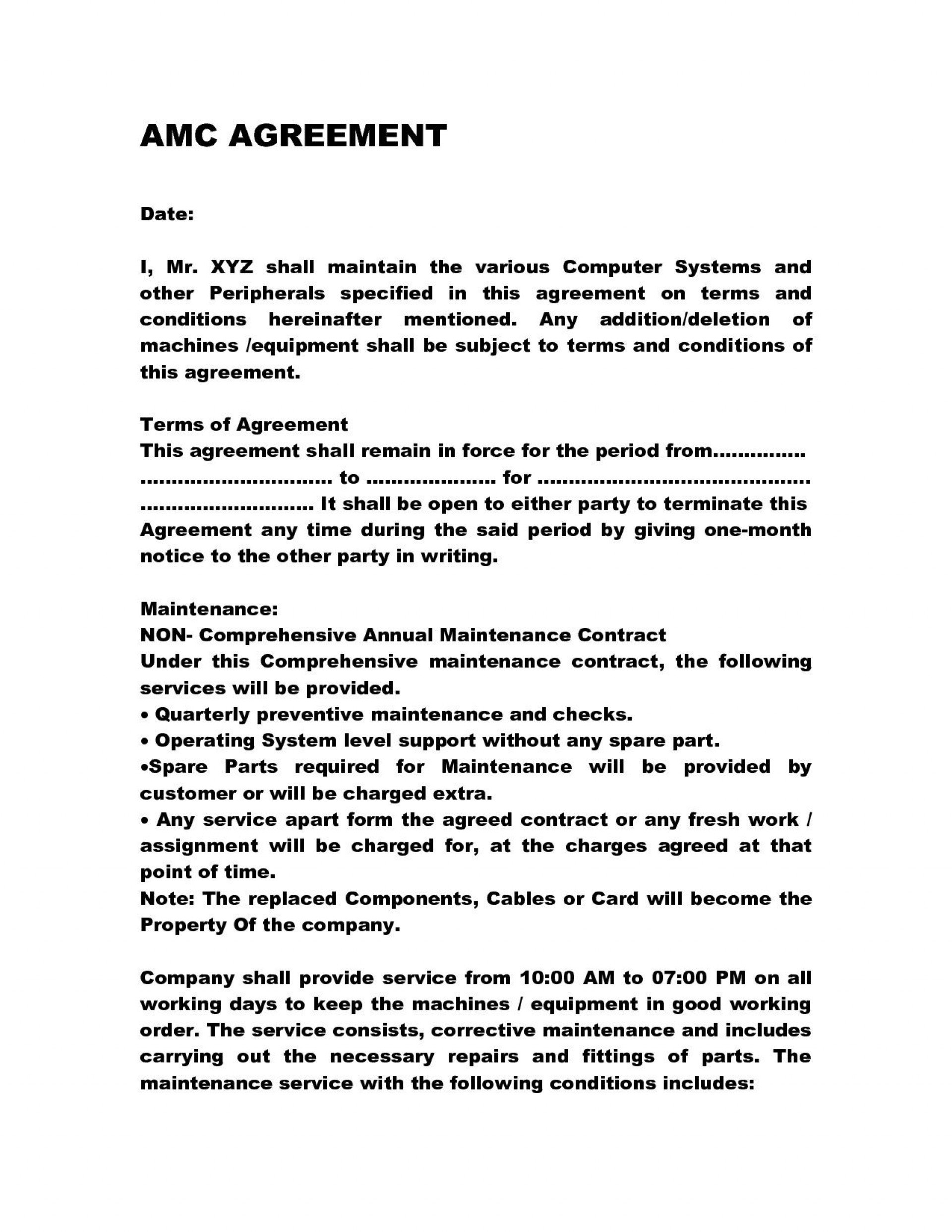 001 Archaicawful Service Contract Template Doc Idea  Docx Simple Level Agreement1920