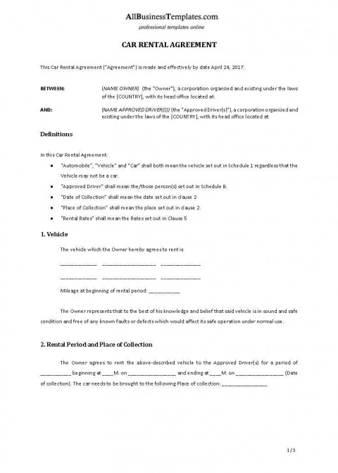 001 Archaicawful Template Vehicle Rental Agreement Highest Clarity  Motor Word480