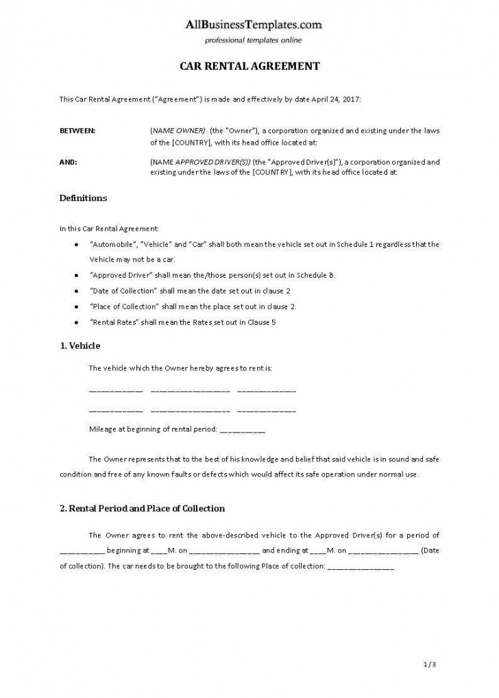 001 Archaicawful Template Vehicle Rental Agreement Highest Clarity  Motor Word728