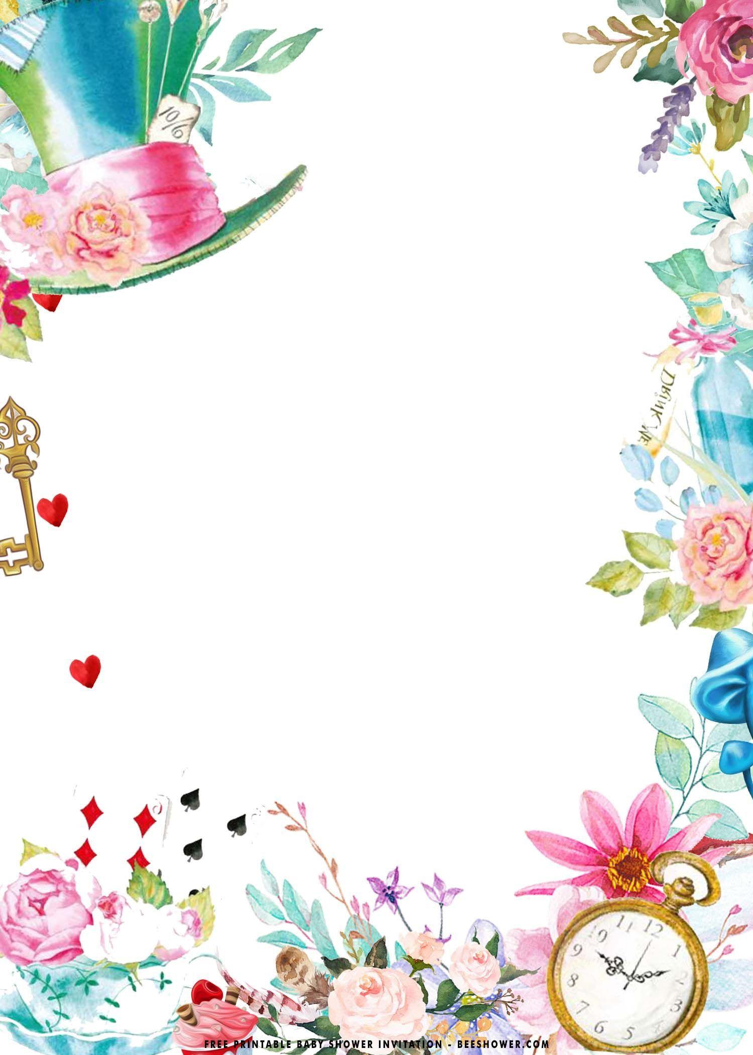 001 Astounding Alice In Wonderland Birthday Party Invitation Printable Free High Definition Full