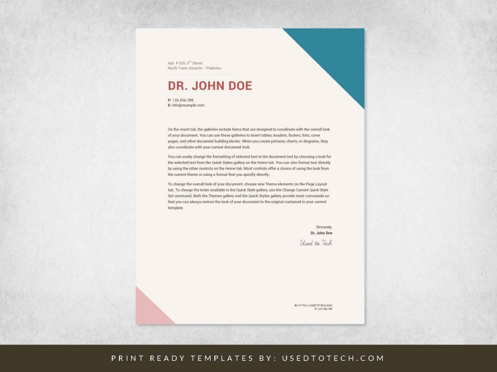 001 Astounding Doctor Letterhead Format In Word Free Download Design Large