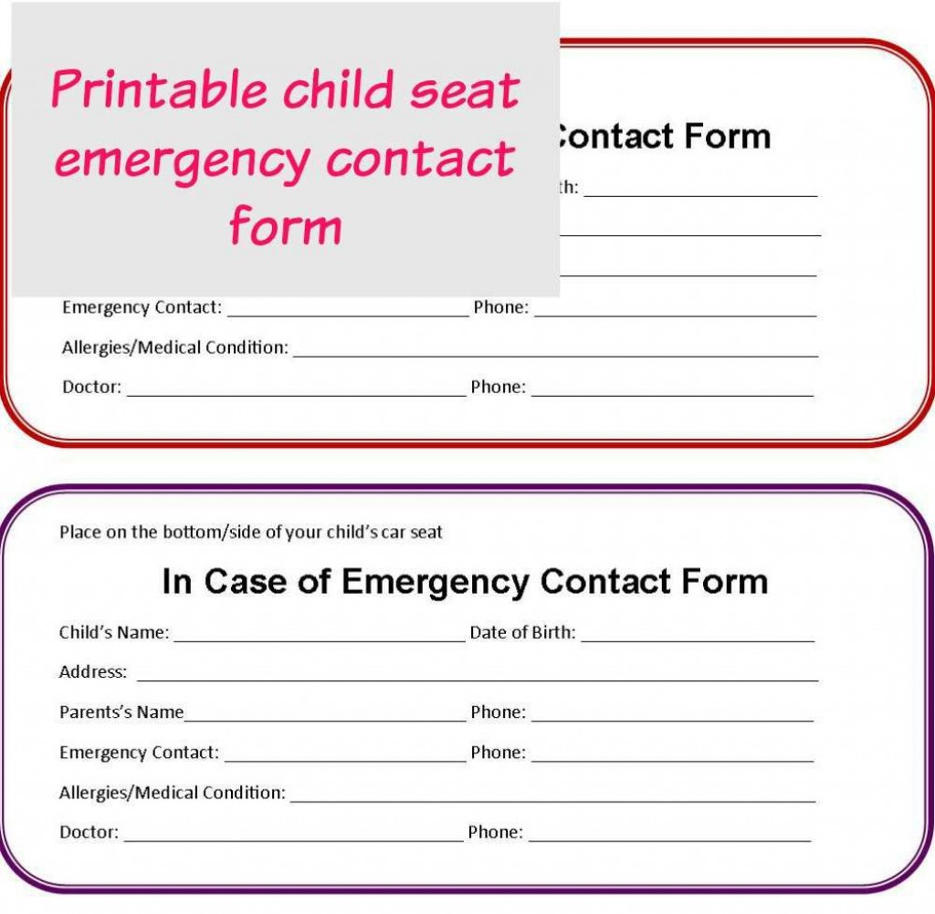 001 Astounding Emergency Information Card Template Picture  Contact Free For ChildLarge
