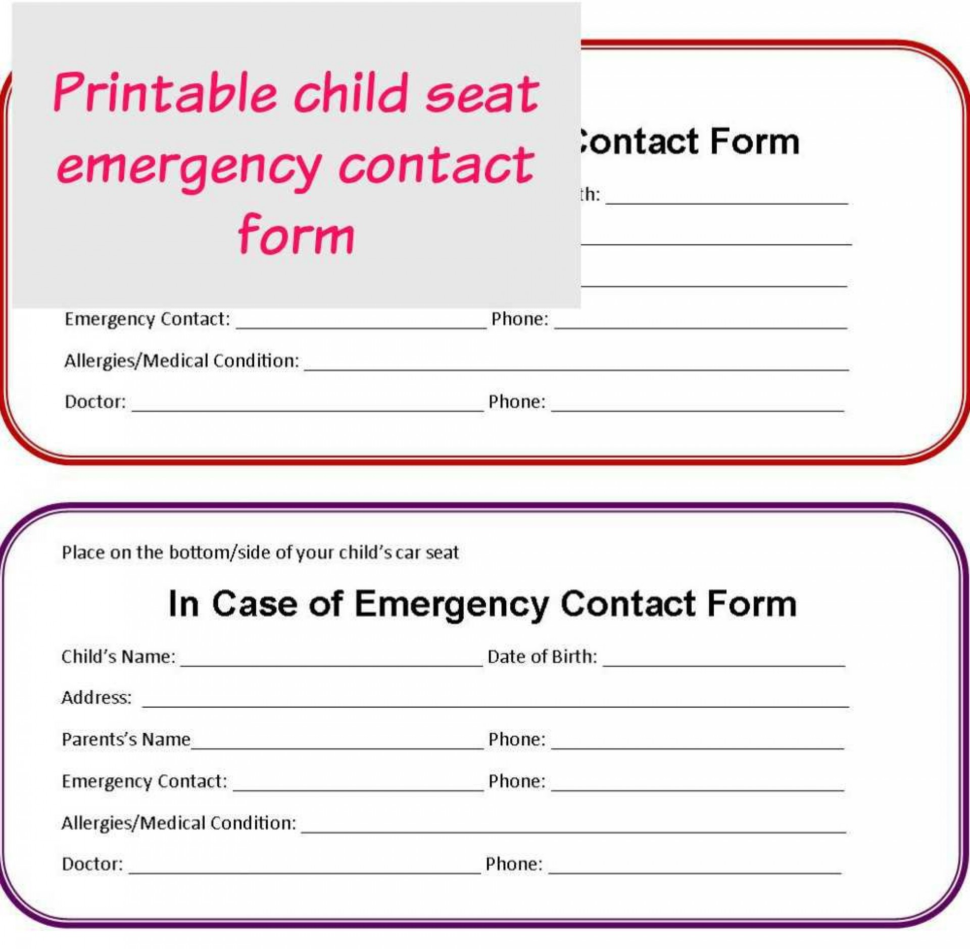 001 Astounding Emergency Information Card Template Picture  Contact Free For Child1920