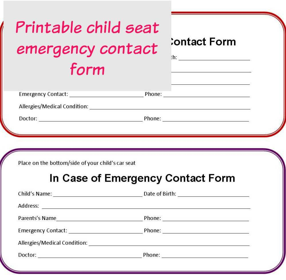 001 Astounding Emergency Information Card Template Picture  Contact Free For ChildFull