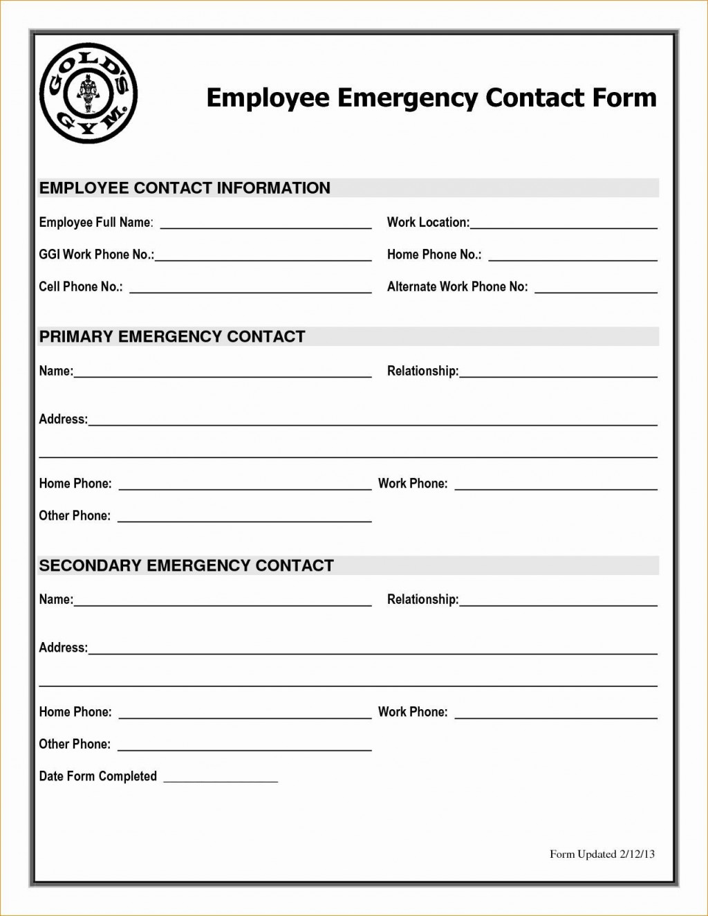 001 Astounding Employee Emergency Contact Form Template High Def  UkLarge