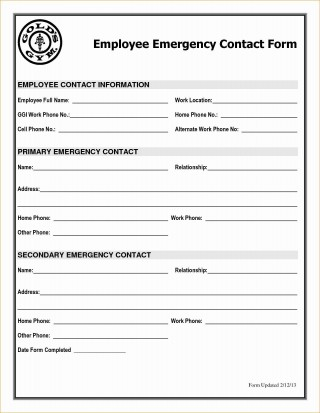 001 Astounding Employee Emergency Contact Form Template High Def  Uk320
