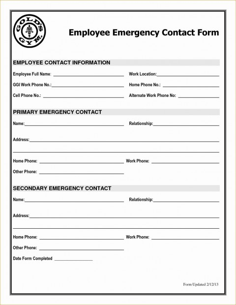 001 Astounding Employee Emergency Contact Form Template High Def  Uk480
