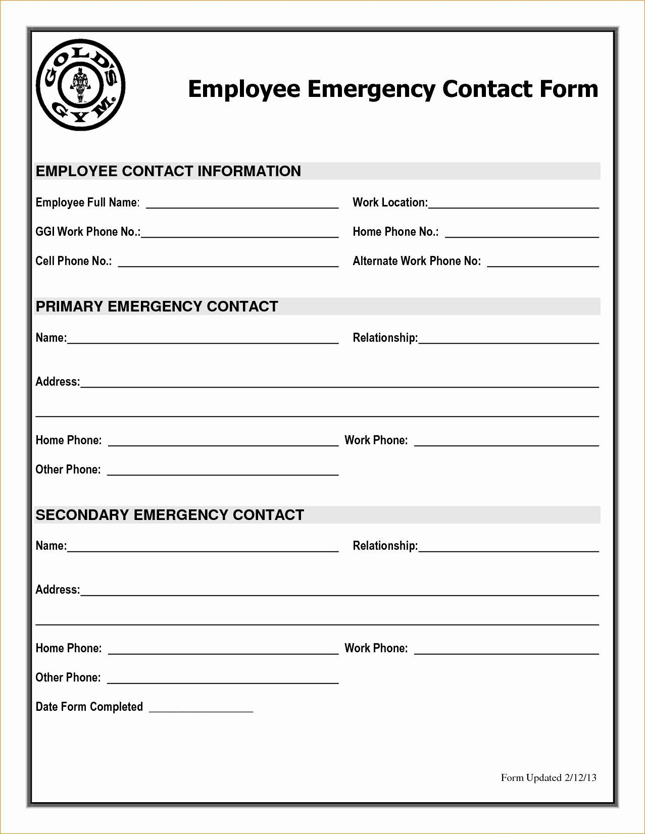 001 Astounding Employee Emergency Contact Form Template High Def  UkFull