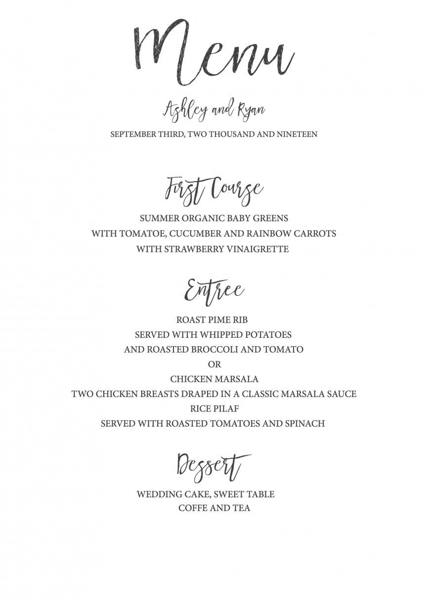 001 Astounding Free Printable Wedding Menu Card Template Highest Clarity Full