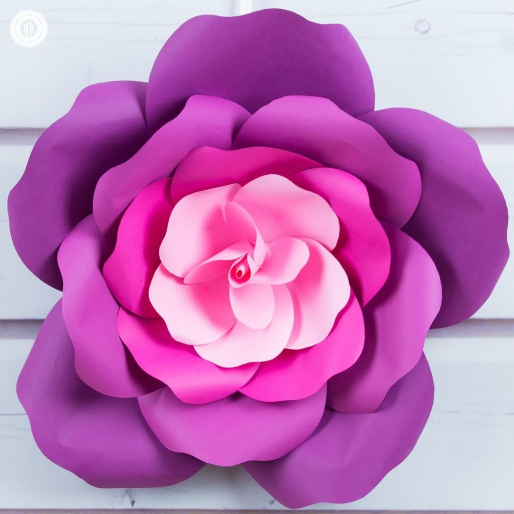 001 Astounding Large Rose Paper Flower Template Free Idea Large